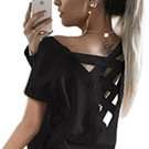 Women\'s Summer Cut Out Loose Shirts Criss Cross Back Top Tee Blouse