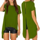 Summer Women Blouses  New Chiffon Split Backless Short Sleeve Blusas Ladies Loose Irregular Hem Casu