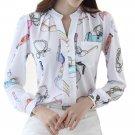 Female Fashion Printed blouses shirts women Chiffon blouse shirt tops blusas feminina Long Sleeve la