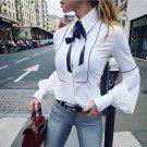 Streetwear 2017 Women Loose Autumn Top White Colors Blouse Lady Casual Long Lantern Sleeve Tops Shir