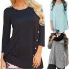 2017 Creative Design Women Long Sleeve Loose Button T Shirts Ladies Solid O Neck Plus Size Women Clo