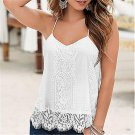 Sexy Women Off Shoulder Loose Casual Sleeveless Lace Tops Blouse Ladies Summer Tops V Neck White Tan