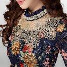 NEW 2017 Women elegant fashion Lace casual women blouse Diamond beaded lace chiffon shirt women clot