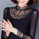 new Women gauze top plus size lace basic shirt summer spring all-match black turtleneck long-sleeve