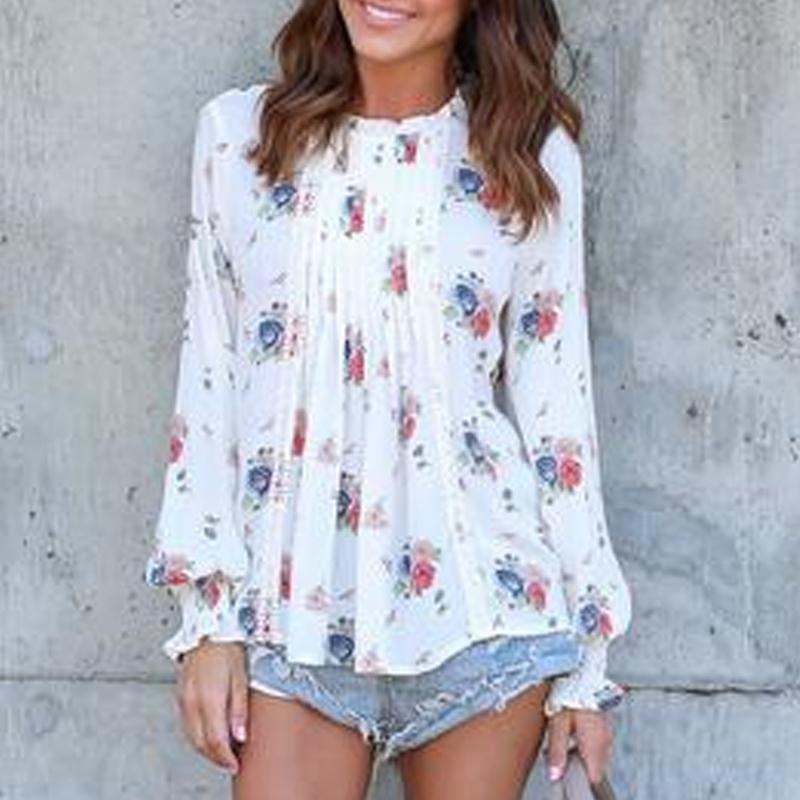 Fashion Floral Print Chiffon Blouse Shirt Women Top Femme Long Sleeve Autumn Spring Casual Floral Pr
