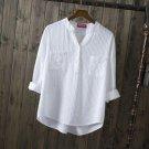 Dioufond White Cotton Shirt Long Sleeve Women Blouse Casual Female Top Navy Pocket Shirt Big Size Bl