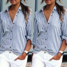5XL Plus Size Sexy Office Loose Vertical Stripe Shirt Spring Autumn Long Sleeve Blouse Women Thin Ca