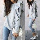 Women O-neck Ruffles Tops Gray Loose Long Sleeve Shirt Casual Blouse Cotton Shirts Clothes Autumn Su