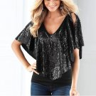 Women Lady Beautiful Sequin Sparkle Shawl Glitter Stretch Cotton Tops Short sleeve T-Shirts