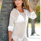 Fashion Fishnet Hollow Beachwear Sexy Bikini Blouse Round Neck Long-sleeved Jacket Sun Protection Cl