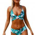 Tropical Print Cross Top Bikini