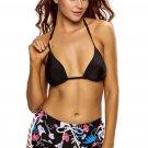 Solid Black Halter Bikini Floral Boardshort Swimsuit
