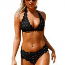 Black Scalloped Laser Hollow Out Halter Bikini Swimsuit