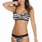 Black White Fastlane Banded Two Piece Swimsuit