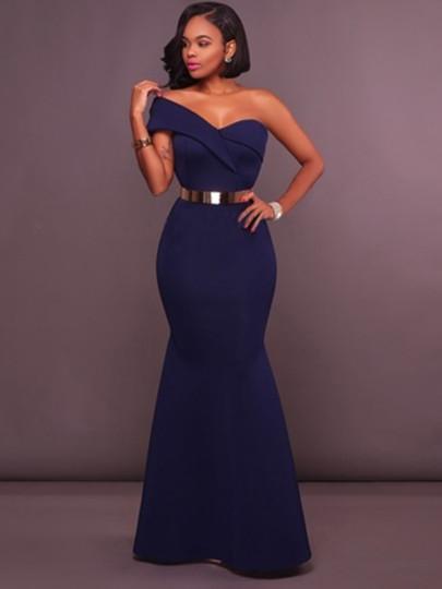 Dark Blue One Shoulder Women\'s Maxi Dress