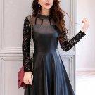 Black Pu Patchwork Women\'s Day Dress