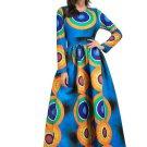 Blue Printing Long Sleeve Women\'s Maxi Dress