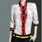 Blue  spring silk print color block formal elegant collar long-sleeve shirt female 8271