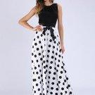 Polka Dots Color Block Women\'s Maxi Dress