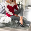 Free shipping color block casual t-shirt v-neck hollow out lace splicing long sleeve women fashion t