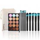 TINKSKY 15 Colors Contour Face Cream Makeup Concealer Palette with 10pcs Makeup Brushes
