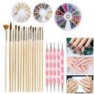 ETEREAUTY Nail Art Kit 15pcs Gold Wooden Nail Art Brush 12 Colors Nail Rhinestones 5pcs Pink Dotting