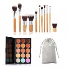 15 Colors Contour Face Cream Makeup Concealer Palette with 11pcs Bamboo Brushes