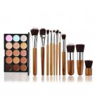 TINKSKY 15 Colors Contour Face Cream Makeup Concealer Palette with 11pcs Bamboo Brushes
