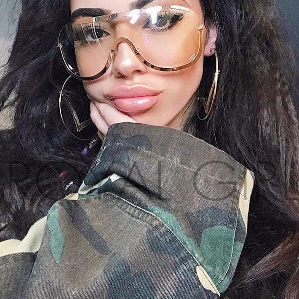 Retro Inspired Women Sunglasses Oversize Shield Metal Half Frame Eyeglasses Frame ss622