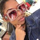 Fashion Design Sunglasses Women Square Rhinestone Sun Glasses Classic Gradient Lens Shades Female Oc