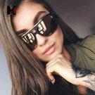 Square Mirror Lens Sunglasses Brand Designer Classic Women Black Frame Golden Alloy Shades UV400