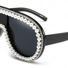 Decoration Oversize Women Sunglasses Brand Designer Fashion Venetian Pearl Ladies Black Glasses UV40