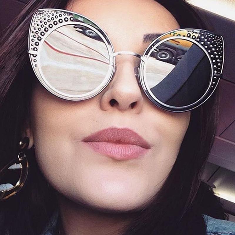 2017 Fashion Cat Eye Sunglasses Women Luxury Brand Designer Sun Glasses Ladies For Female Mirror Len