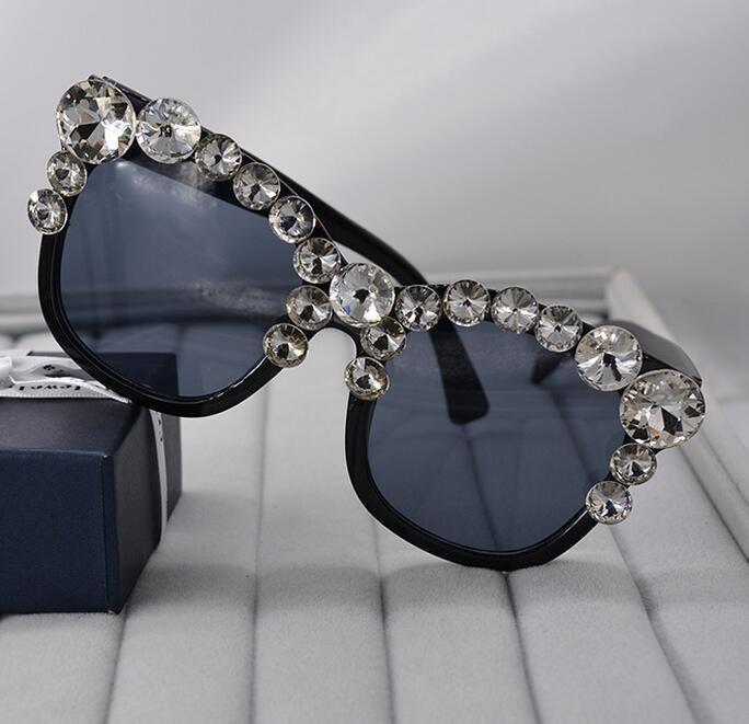 Fashion luxury shiny gem crystal inlaid sunglasses beach outdoor eyewear cat eye glasses accessories