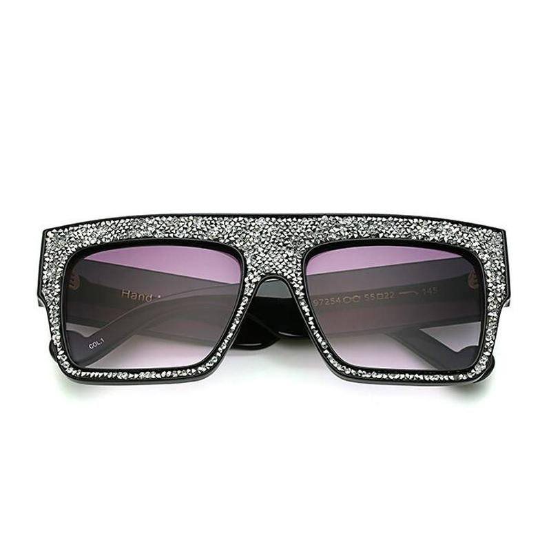 New Women Luxury Brand Design Crystal Cateye Sunglasses Mirror Retro Rhinestones Sun Glasses big Fem