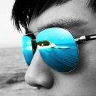 UV400 Polarized Brand Designer Men Luxury Round Outdoor Sunglasses Oversized Metal Frame Flat Sun Gl