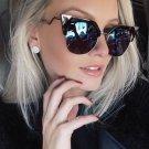 Iridia FF0060/S Women Sunglasses Designer Crooked Temple Mirrored Brand New Female Glasses Cat Eye 9