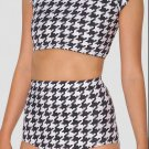 EAST KNITTING X-246 Houndstooth Nana Suit Bottom High Waist women Summer short Pants  S M L XL PLUS