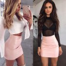 HOT Fashion Women Shiny Leather Skirts Female Solid Bodycon Pencil Short Mini Skirt Woman Zipper Hig