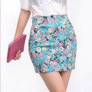 Vintag 2017 Office Lady Skirt Summer Women High Waist Elastic OL Short Mini Skirts Floral Sexy Penci