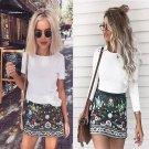 Fashion Women High Waist Floral Printed Short A-Line Skirt Bodycon Zipper Mini Skirts FS99