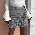 2017 HOT Fashion Skirt Women Lady High Waist Flared Ruffle Plaid Striped Pleated Skirt Stretch Plain