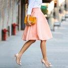 High Quality Fashion Women Elegant Pleated Skirt Solid Color Skirt Women\'s Vintage Pink Midi Skirt