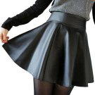 Free ship New 2018 Russia Fashion Polyester artificial leather Skirt Women Vintage High Waist Pleate