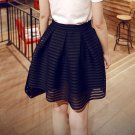 2017 Summer New Style Sexy Fashion Skirt Womens Striped Hollow-out Fluffy Long Skirt Swing Skirts La