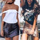 European and American Sexy Girls Fashion Sequin Skirts Bead Piece Bust Skirt Women High Waist Wrap B
