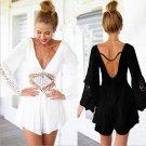 New 2017 Hot Summer Deep  V-Necked Sexy Backless Dress White Lace Piece Skirt Pants U1BLJJ1444