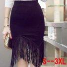 2018 spring Sexy Black Package Hip Skirts Women Fashion Fringed High Waist Asymmetrical Faldas S-3XL