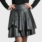 Women 2017 Skirt Was Slim Faux PU Leather A-Line Black Skirts Women