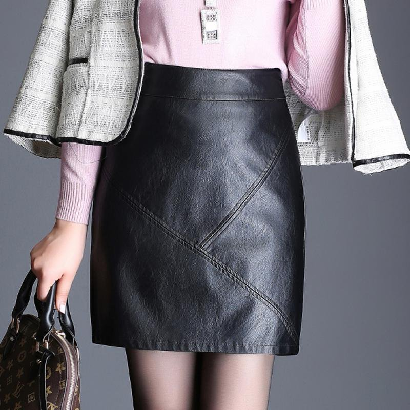 High Waist Leather Skirt 2017 New Fashion Fall Winter PU Patchwork Mini Pencil Skirts S-XXXL Plus Si